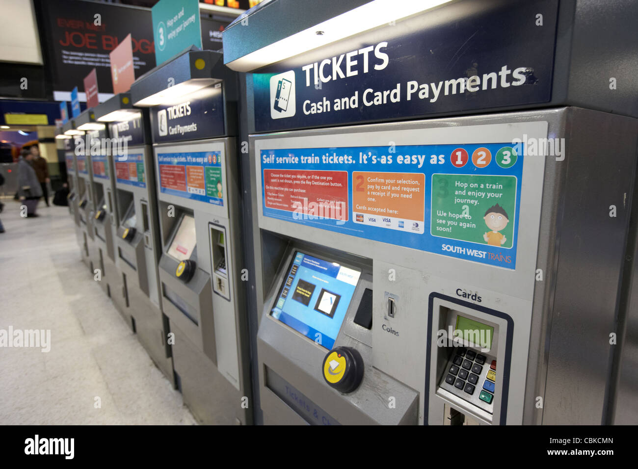 automatic train ticket machines at waterloo rail station london england united kingdom uk Stock Photo