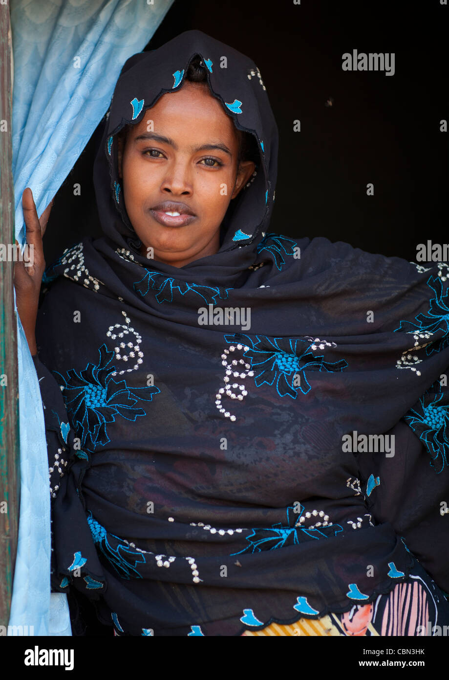 Cute Black Young Veiled Woman Portrait Somaliland - Stock Image