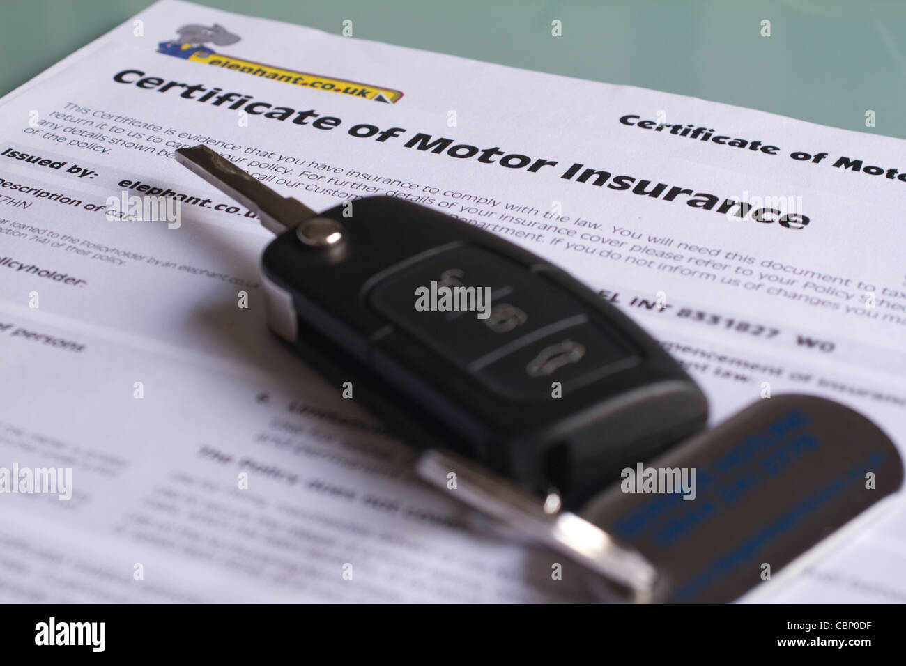 UK certificate of motor insurance, car insurance Stock Photo