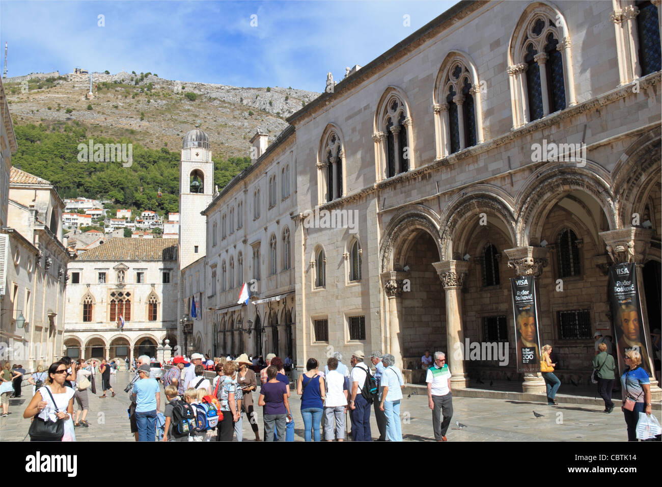 Rector's Palace, City Hall and Sponza Palace, Dubrovnik, Dubrovnik-Neretva, Dalmatia, Croatia, Balkans, Adriatic - Stock Image