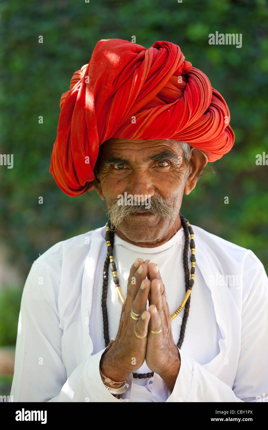 Traditional Namaste Greeting From Indian Man With Traditional Stock