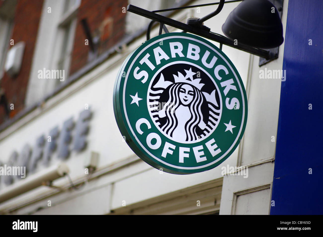 Starbucks coffee sign Stock Photo