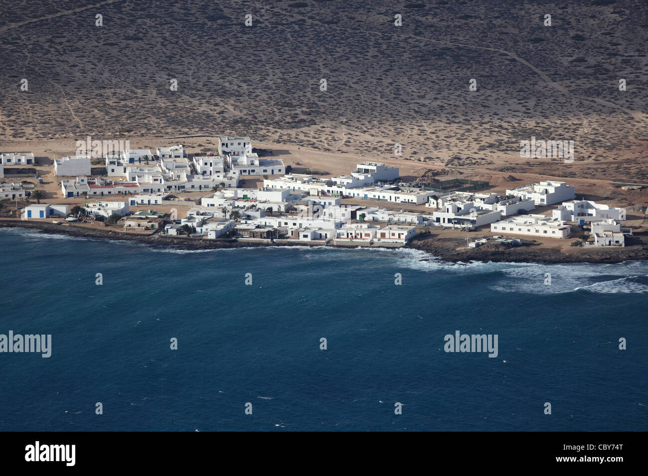 Aerial view of a fishing village on Canary Island La Graciosa, Lanzarote Spain Stock Photo