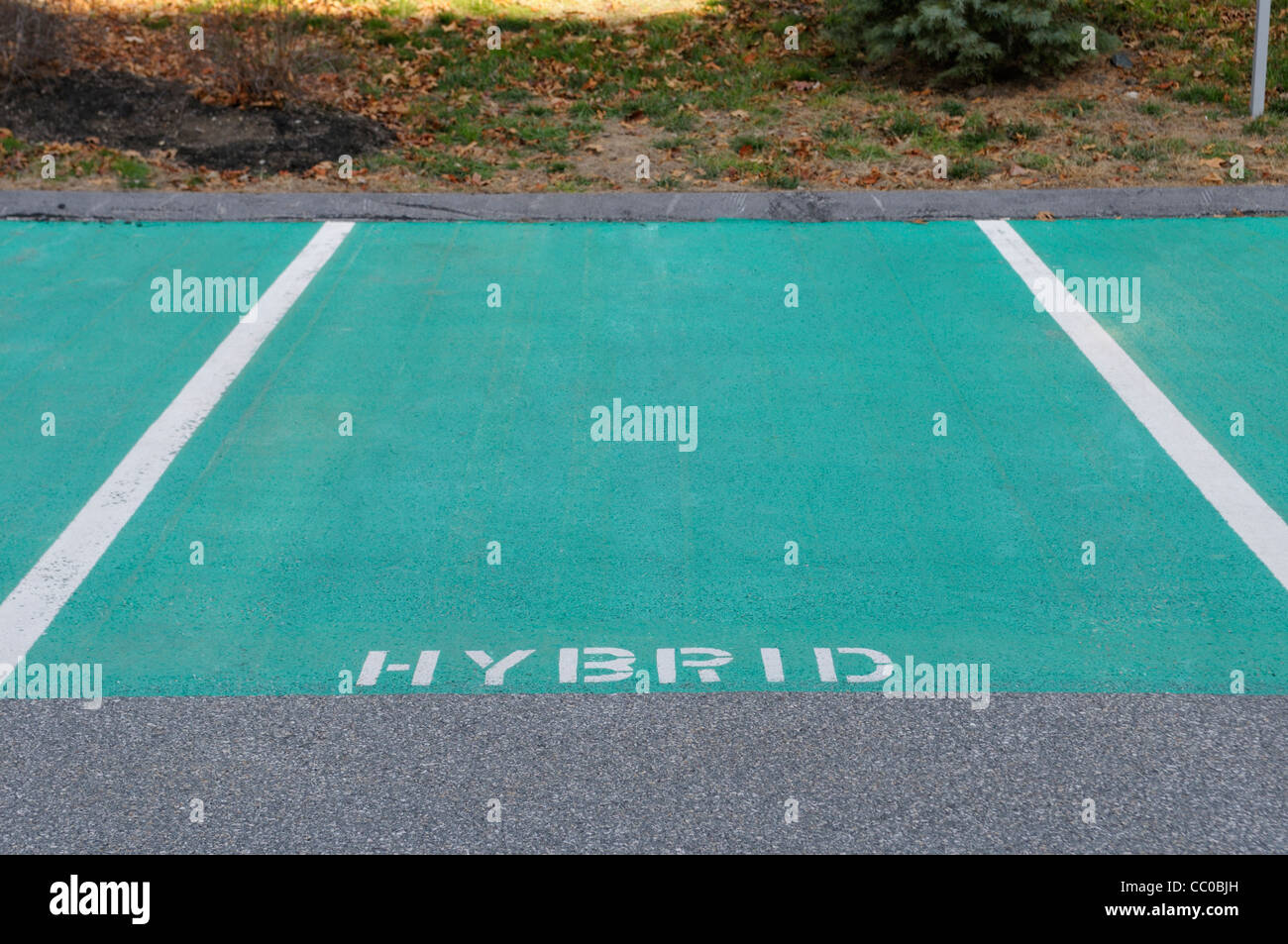 Preferred parking spaces reserved for hybrid gas-electric cars at an eco-friendly hotel in Massachusetts - Stock Image
