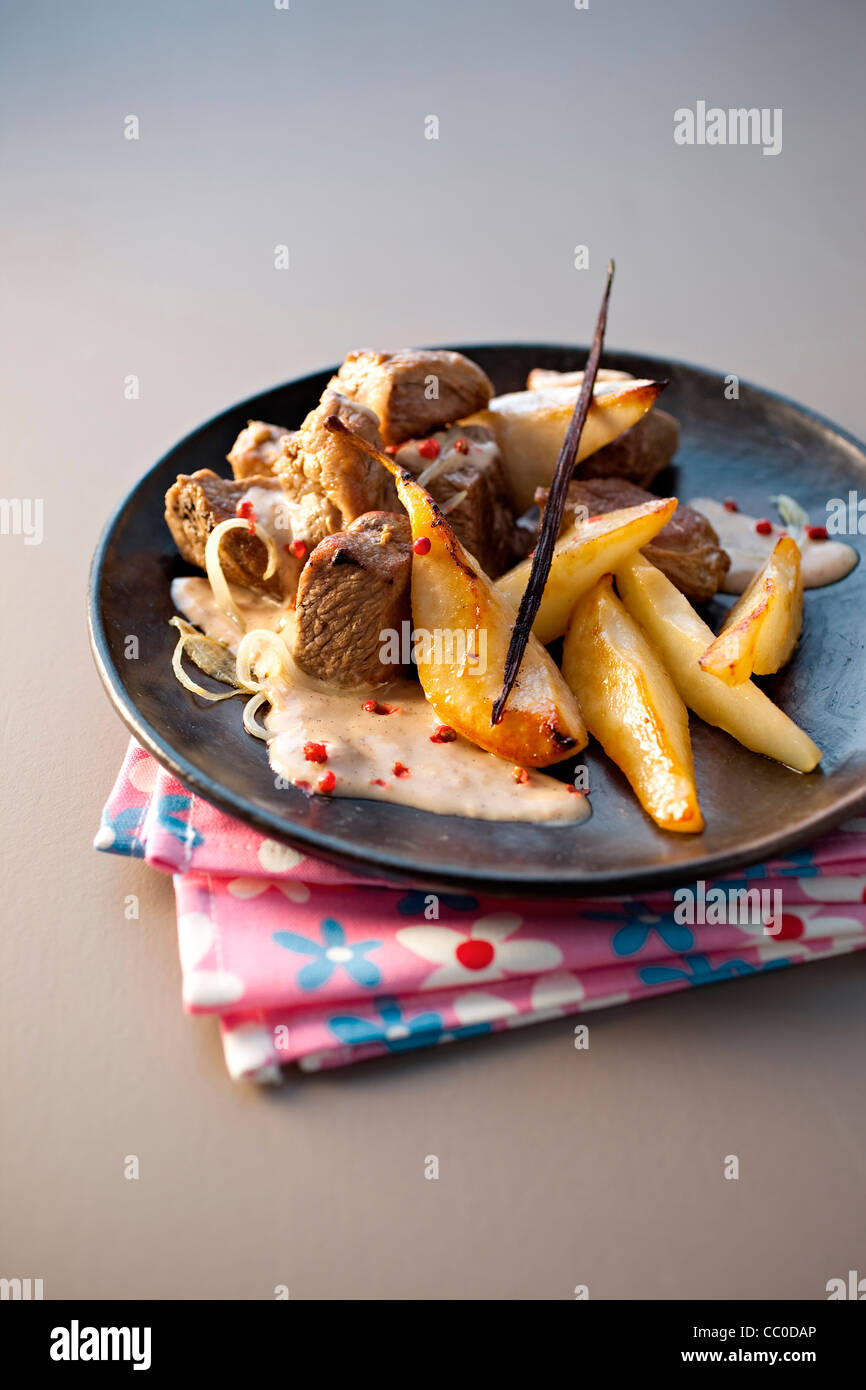 SautŽed Wild Boar with Pear and Vanilla Chutney - Stock Image