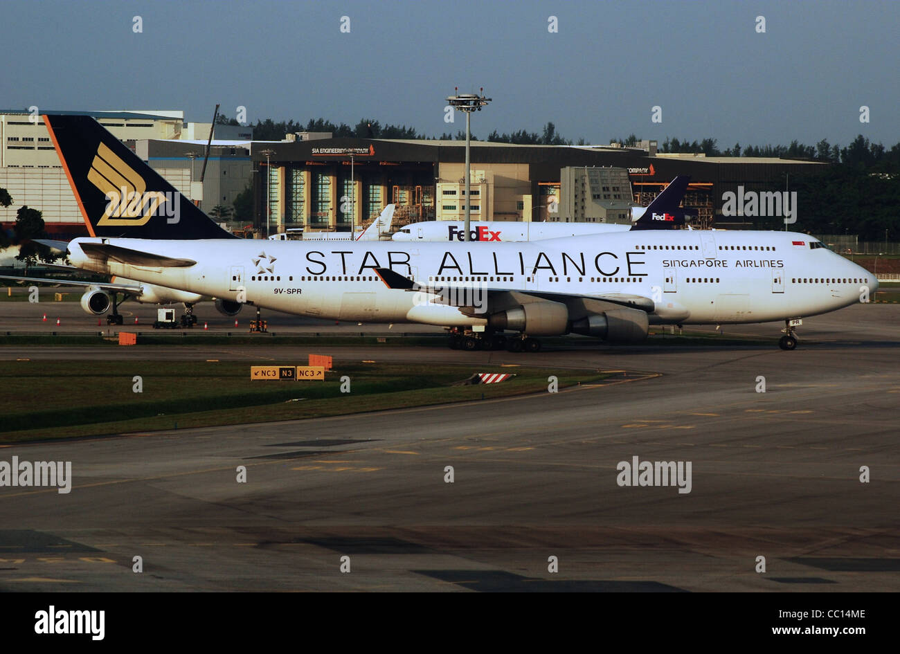Singapore Airlines Boeing 747-4H6 (9V-SPR) taxiing at Singapore Changi Airport (SIN/WSSS). - Stock Image