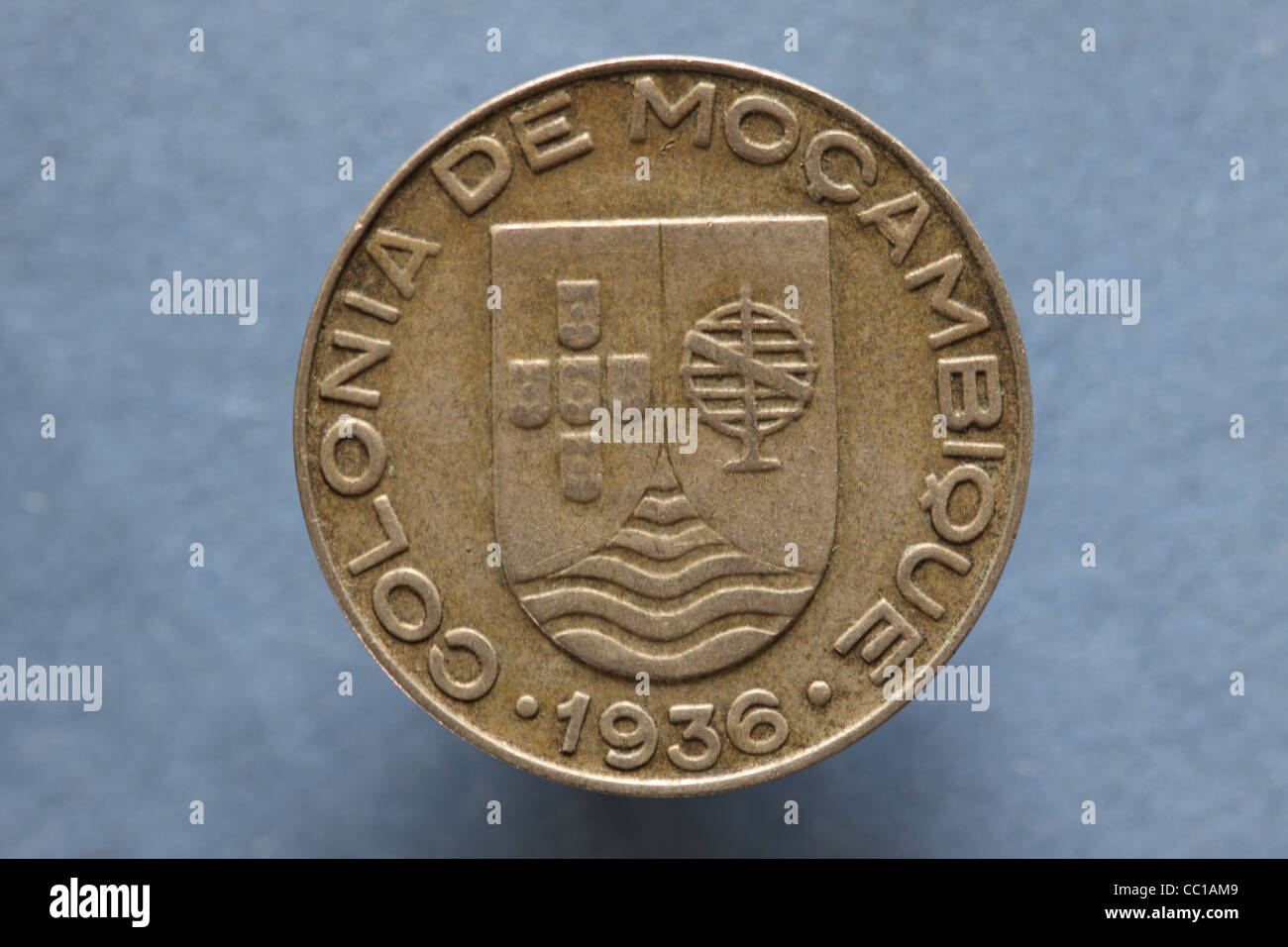Colonia De Mocambique coin dated 1936 a Portuguese African colony now independent Mozambique - Stock Image