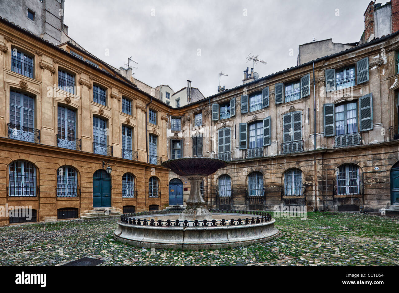 square in old part of town, Aix-en-Provence, France - Stock Image