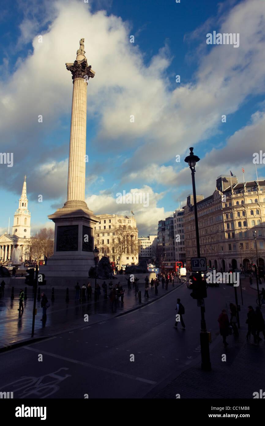 Nelson's Column monument in Trafalgar Square, central London, England, United Kingdom. Stock Photo