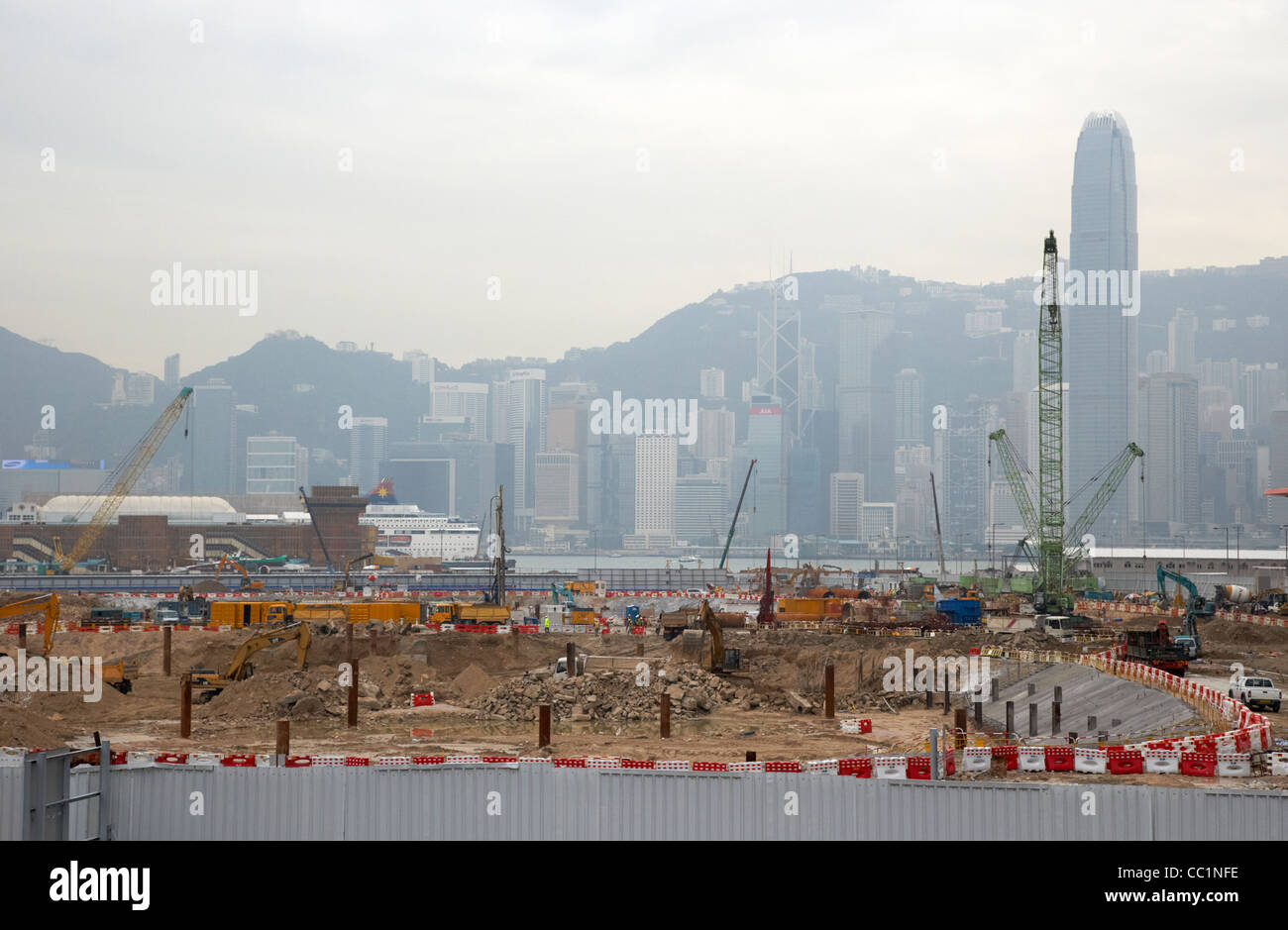new building site and the coronation development under construction on reclaimed land in west kowloon with a view - Stock Image