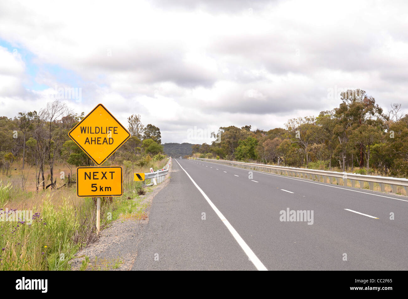 Road sign Wildlife ahead next 5km Stock Photo