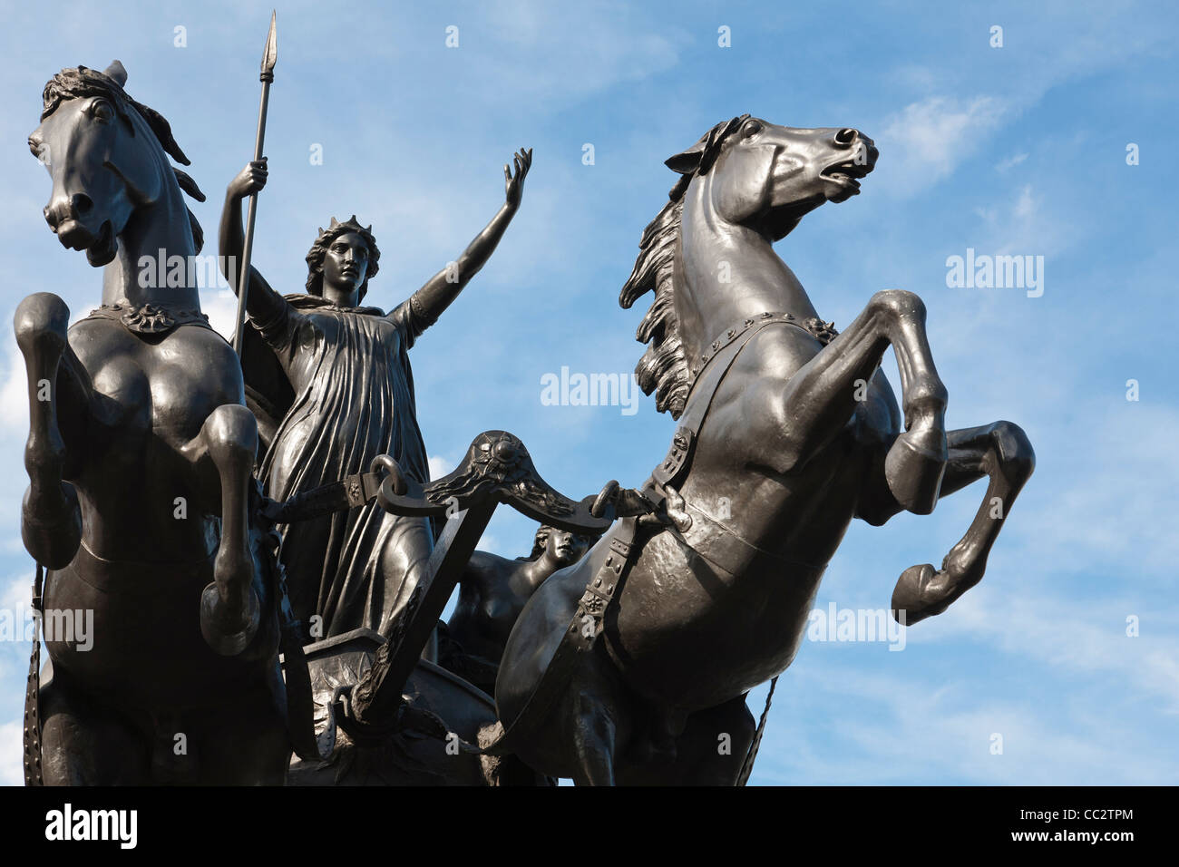 A sculpture depicting the warrior queen Boudica of the Iceni with her daughters, near Westminster Pier, London, Stock Photo