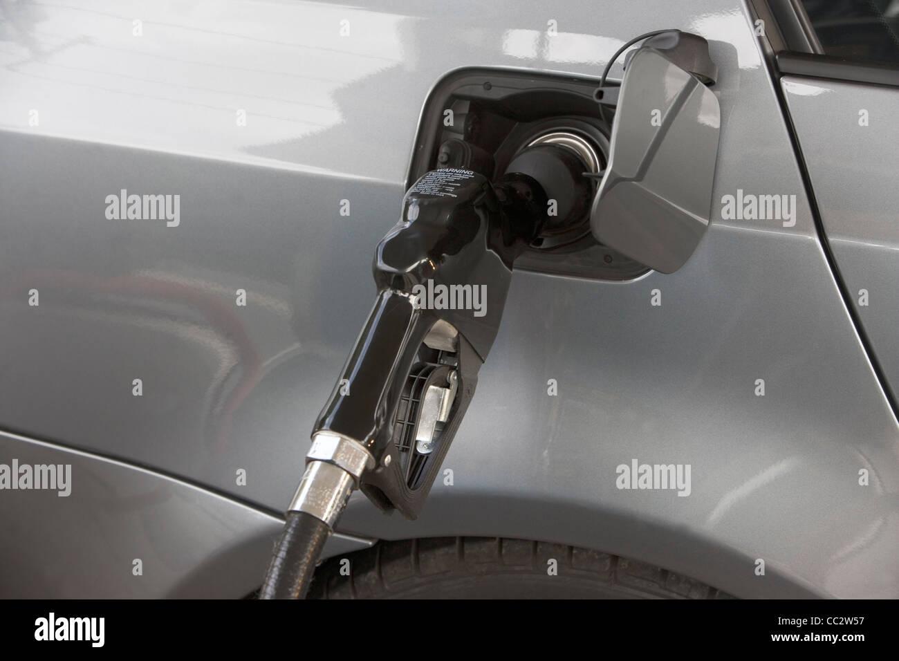 USA, New York, Long Island, East Hampton, Close-up of refueling pump - Stock Image