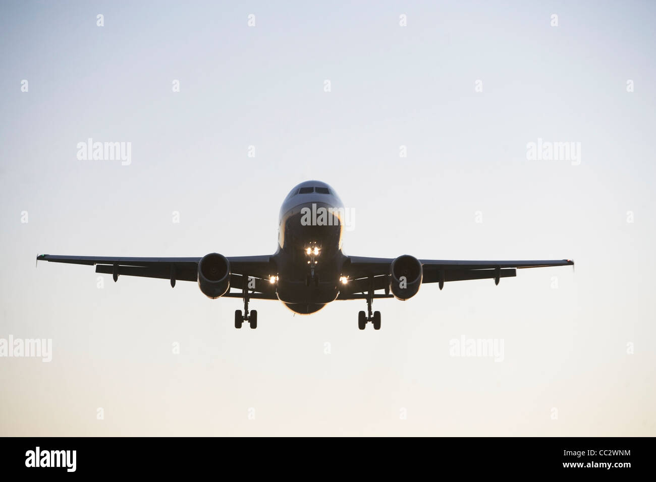 USA, New York City, Commercial aeroplane taking off from runway - Stock Image
