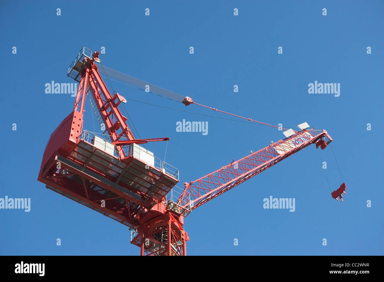 USA, New York City, Low angle view of industrial crane - Stock Image