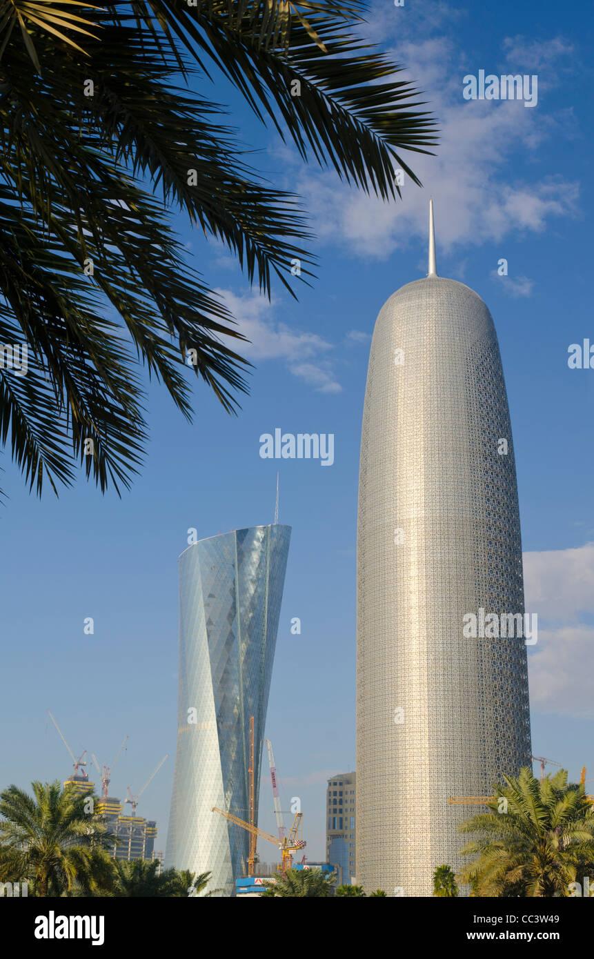 Qatar, Doha, Al Bidda Tower and Burj Qatar - Stock Image