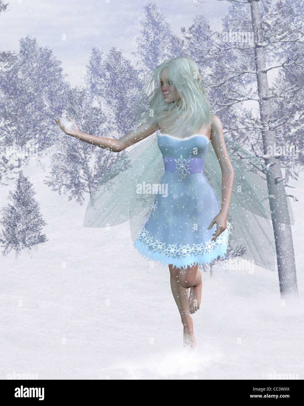 Cold Winter Fairy Catching Snowflakes - Stock Image