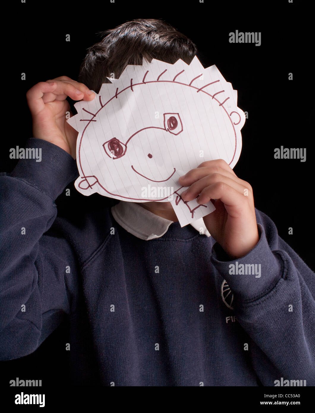 Boy with homemade mask - Stock Image