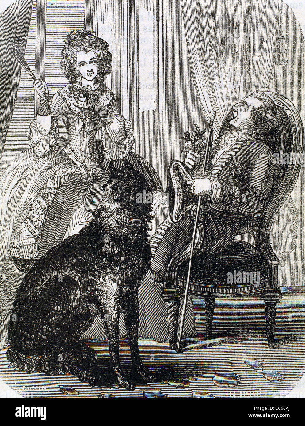 Louis XV (1710-1774). King of France (1715-1774) and Marie Jeanne Becu, Comtesse du Barry. Engraving of 1851. - Stock Image
