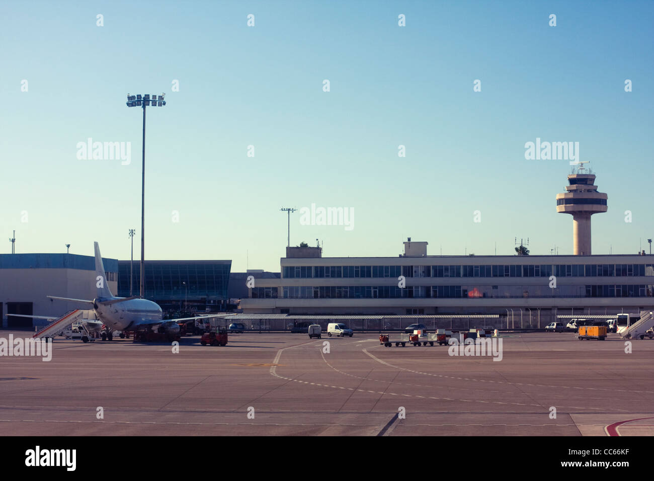 Airplane at an airport Stock Photo