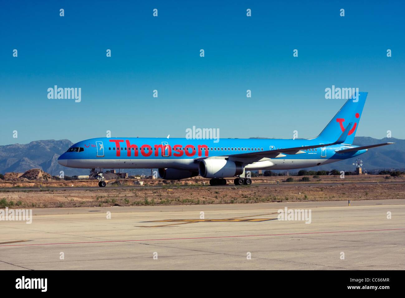 Thomson Airways Boeing 757 at Palma de Mallorca, Son San Juan Airport, Majorca, Spain - Stock Image