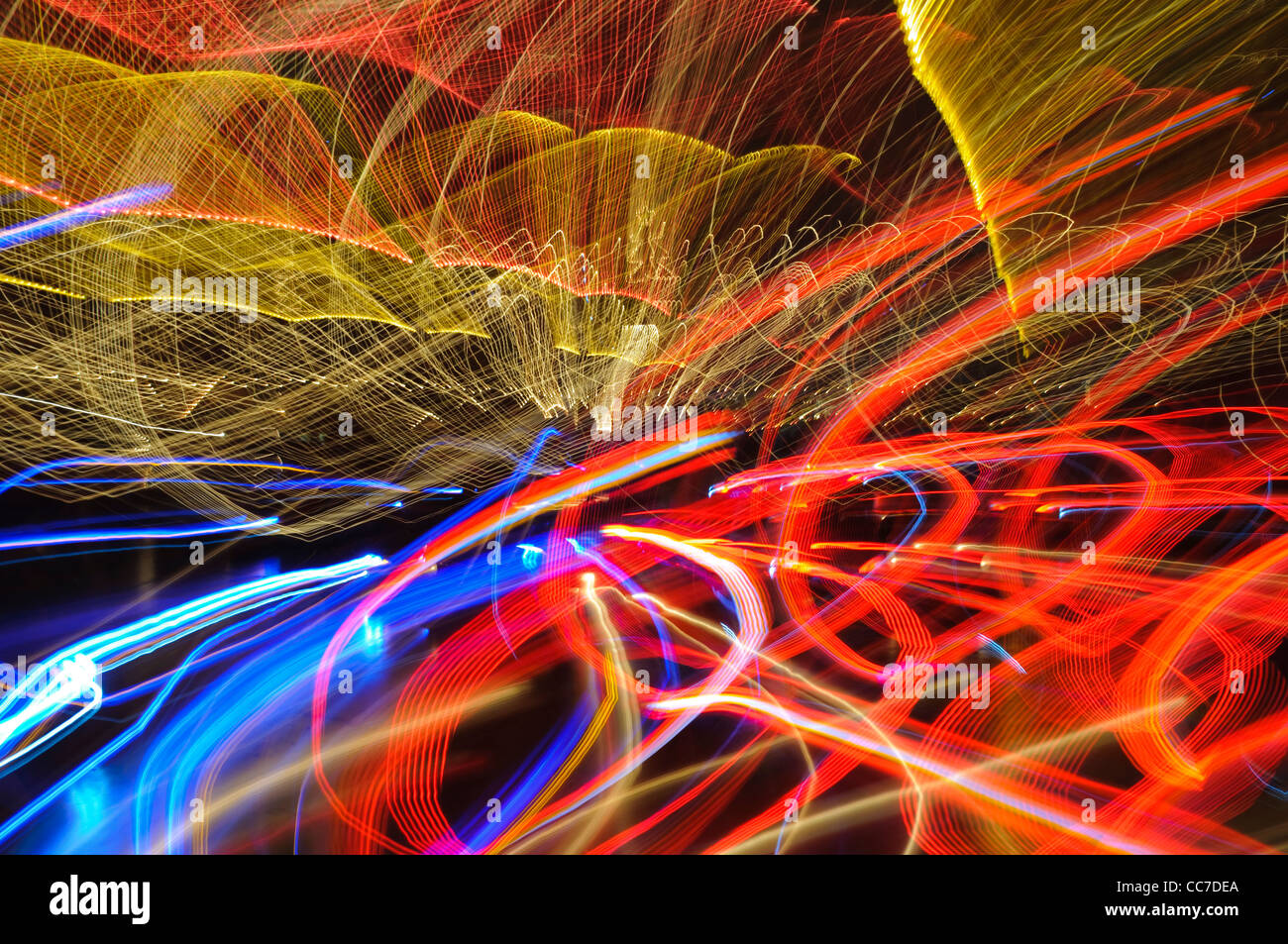 Bumper cars, carousel, light trails, fairground, Erfurt, Thuringia, Germany, Europe - Stock Image