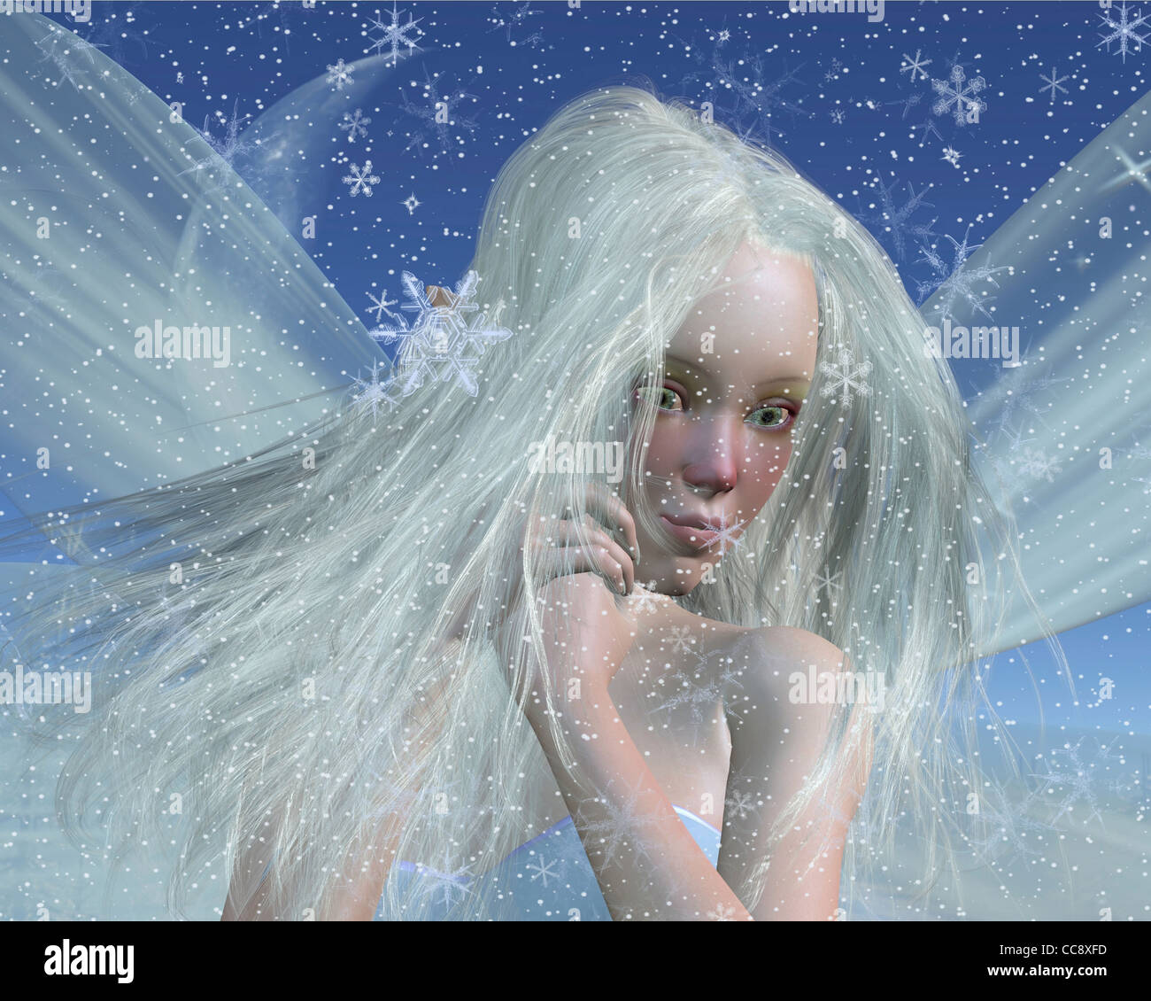 Cold Winter Fairy Portrait - Stock Image