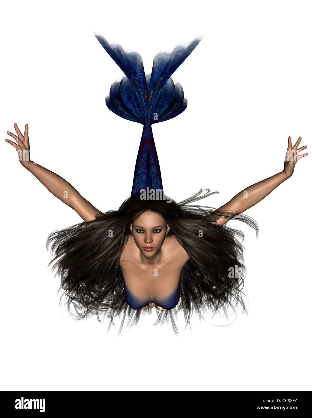 Dark Haired Mermaid - 1 - Stock Image