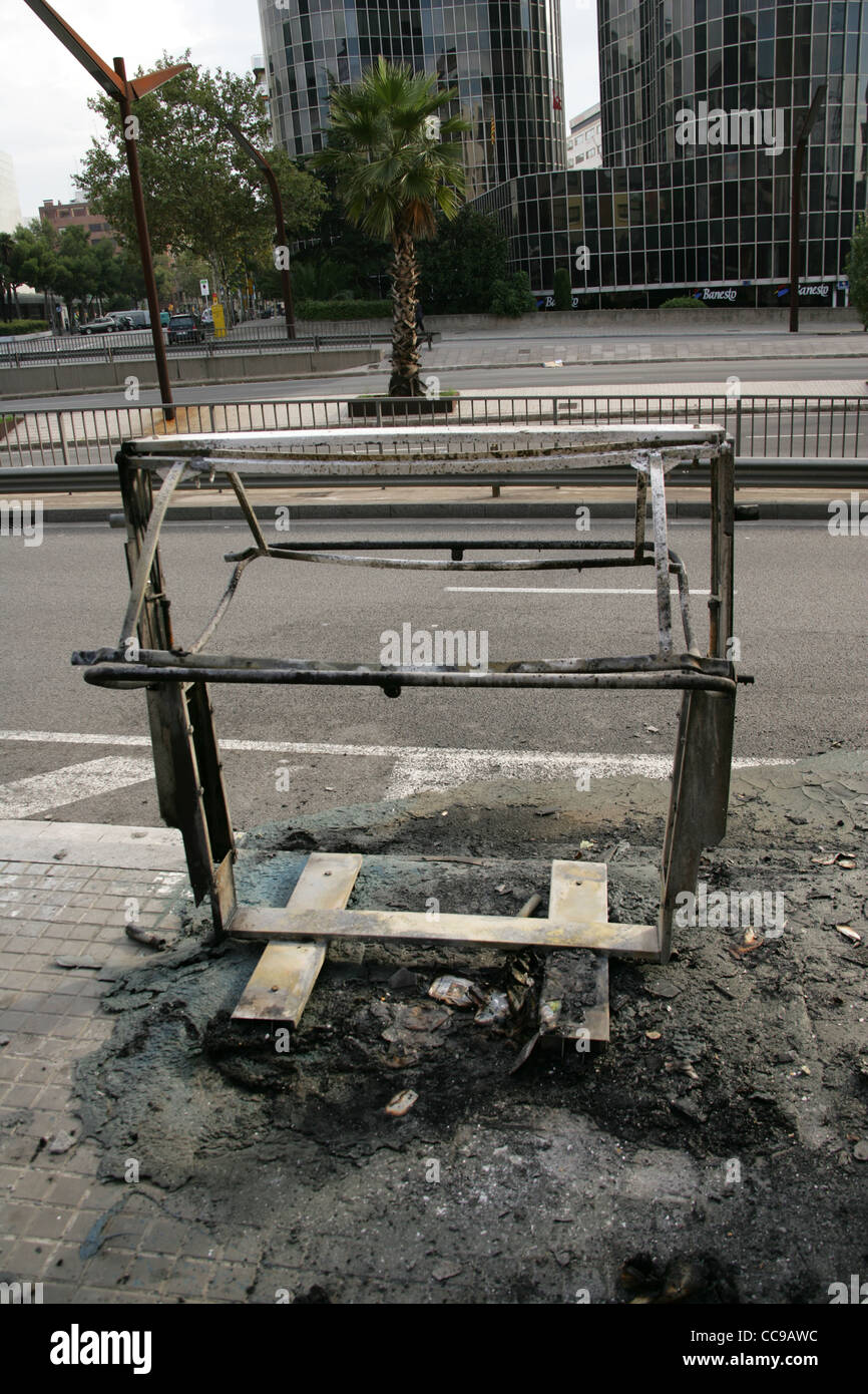 Bin destroyed by fire. Barcelona. Catalonia. Spain. - Stock Image