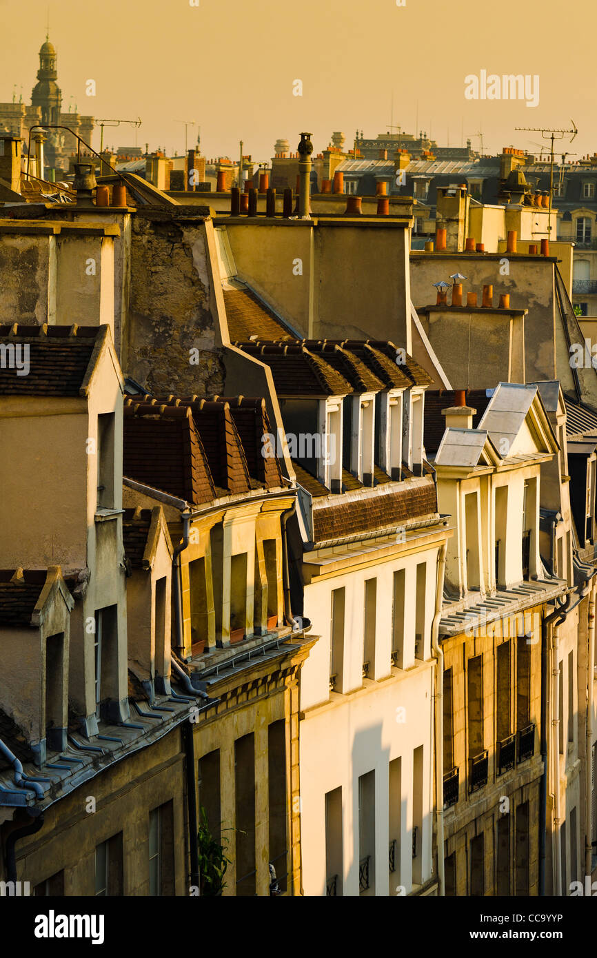 Morning light on houses in the Latin Quarter, Paris, France - Stock Image