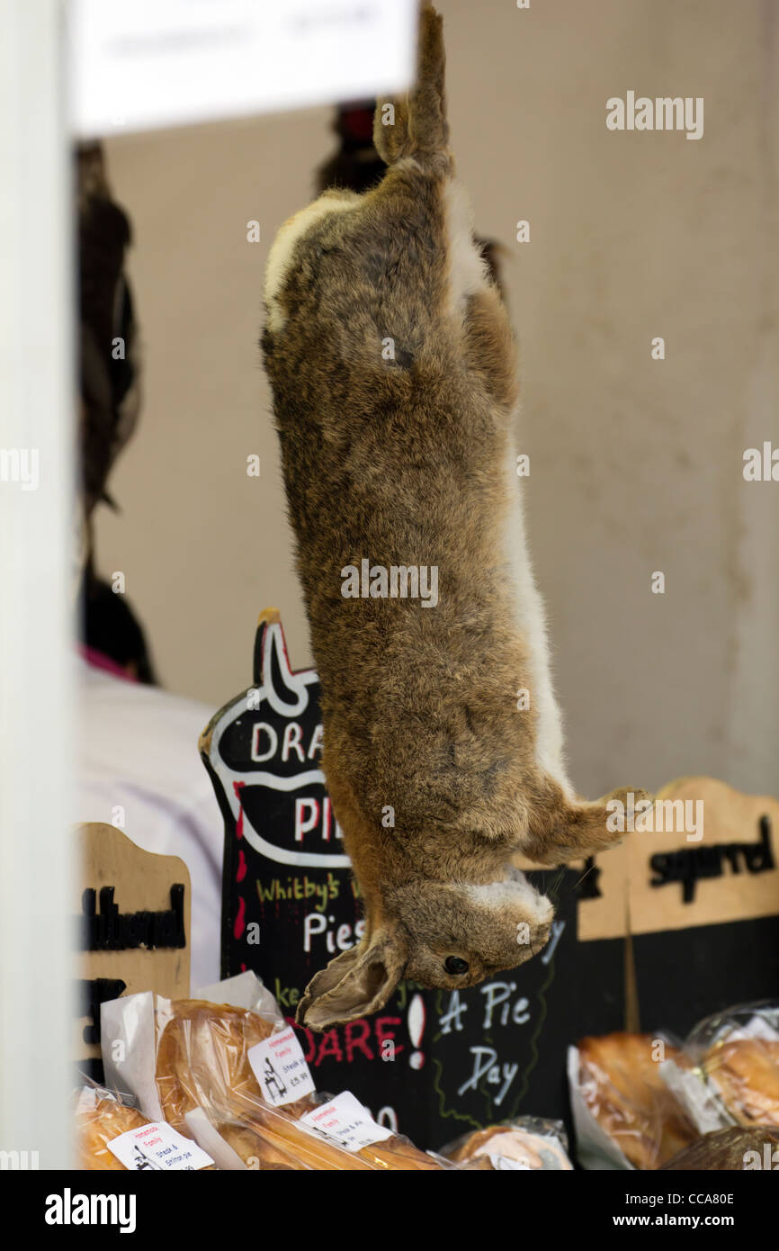 rabbit/hare hanging on farmers market food stall in Derbyshire England - Stock Image