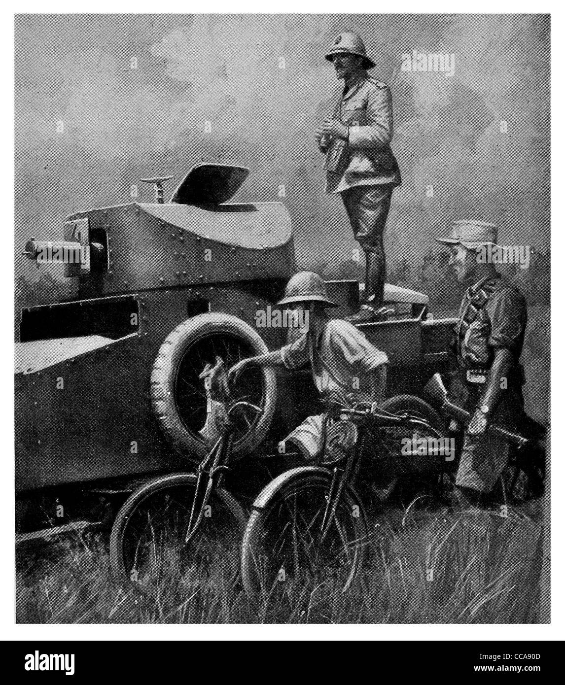 1916 East Africa General Smuts British force armoured car vehicle bicycle spare tire tank turret machine gun safari Stock Photo