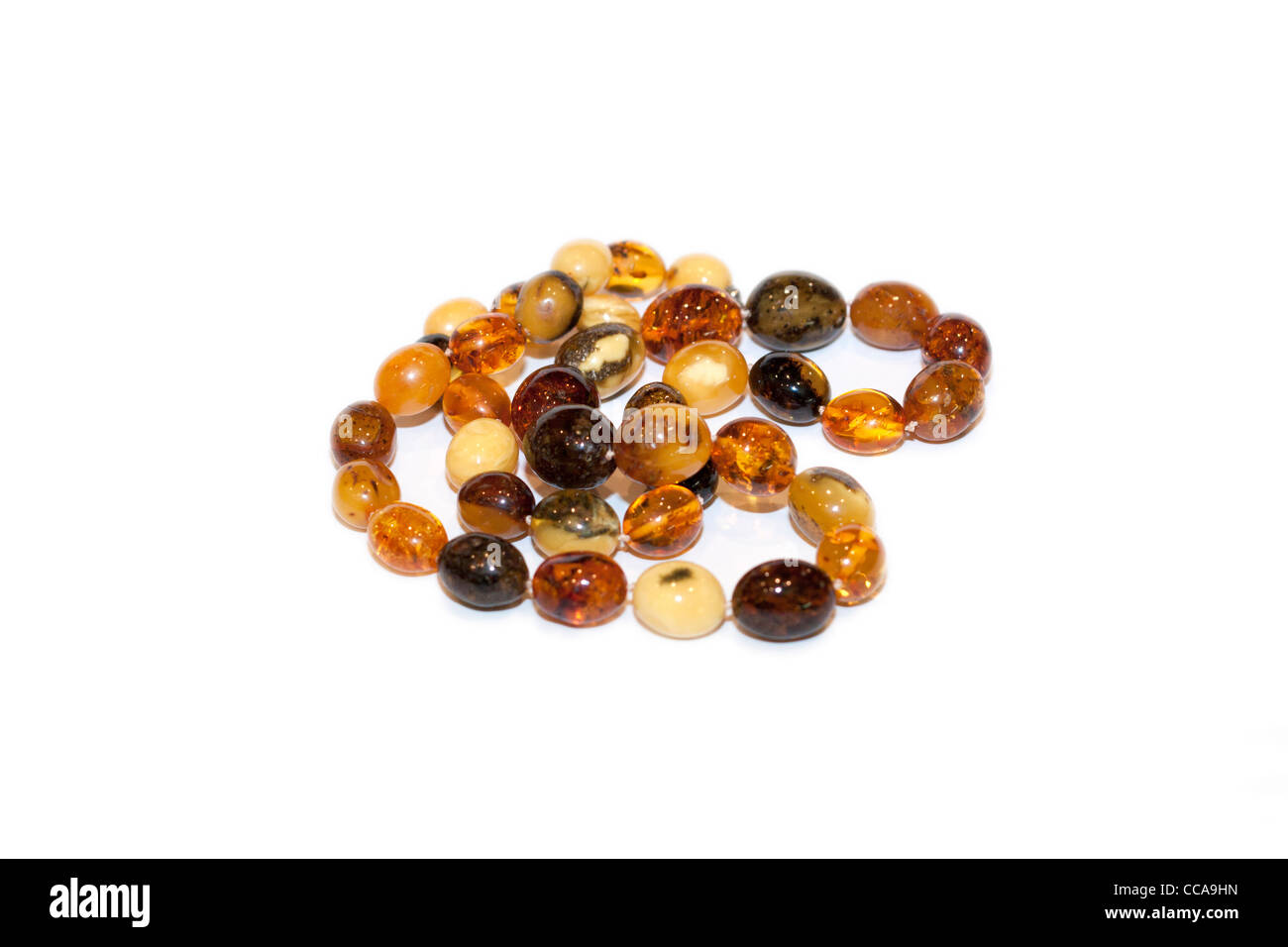 Necklace of amber beads of various kinds - Stock Image