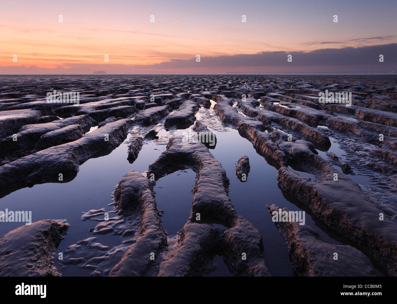 Mudflats at Sand Bay, Weston-super-Mare. Somerset. England. UK. - Stock Image