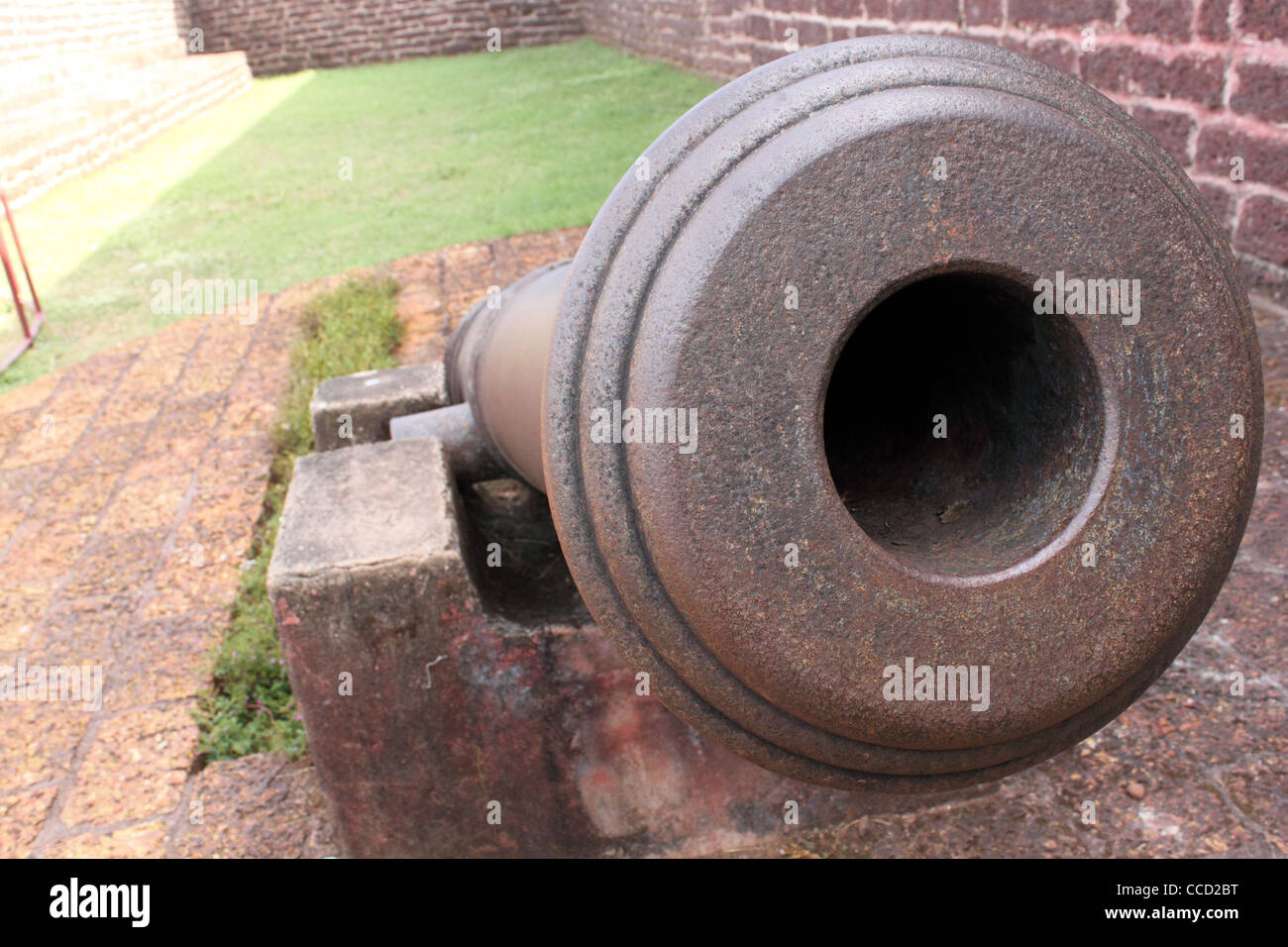Medieval cannon used by the British at the kannur fort, kerala India - Stock Image