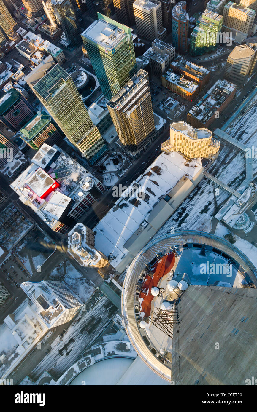 Office towers in downtown Toronto from observation tower. - Stock Image