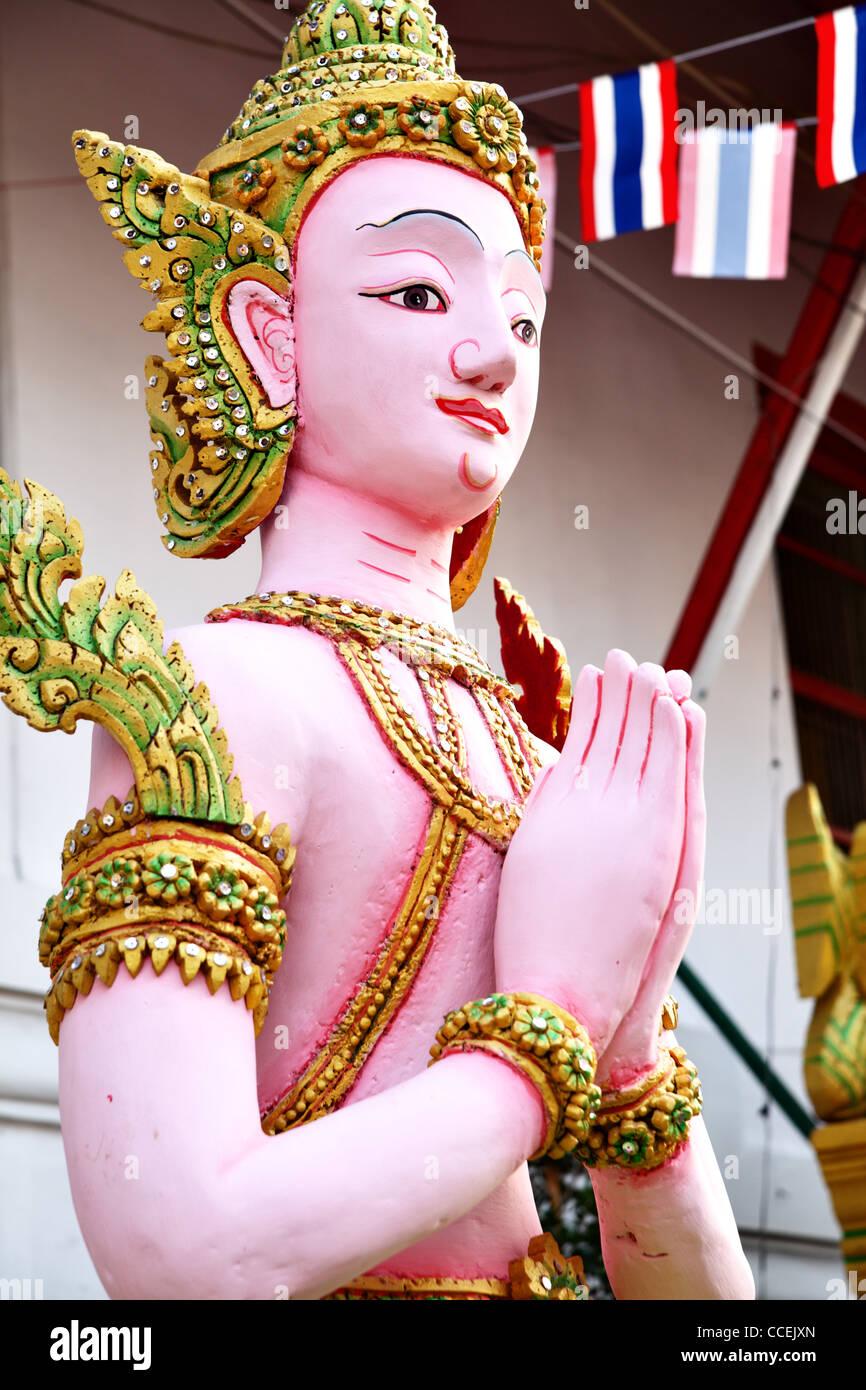 Kinnara statue - a kind of Thai mythological creature - Stock Image