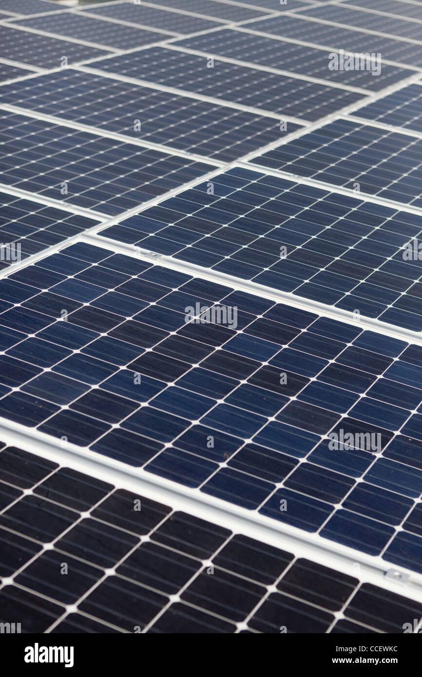 Diagonal line of solar array - Stock Image