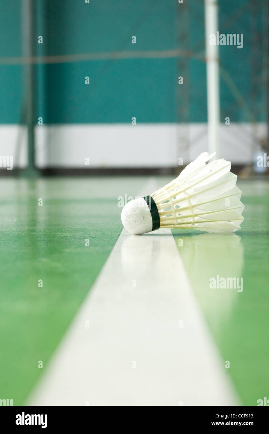 a close up of shuttlecock, for sports background. - Stock Image