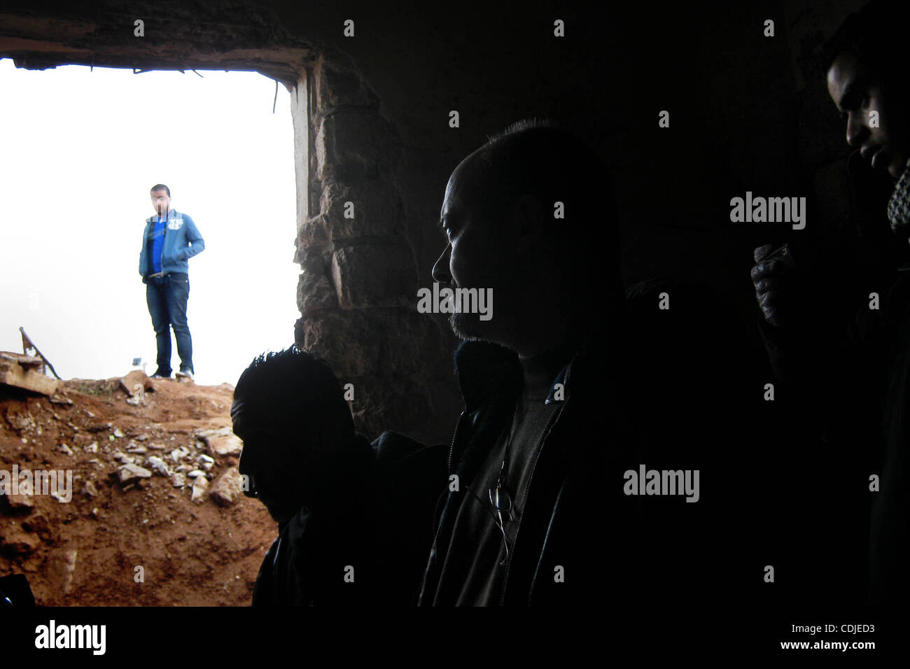 Feb. 24, 2011 - In one of the palaces of Gadafi civilians walk around an underground bunker exploring an area that - Stock Image