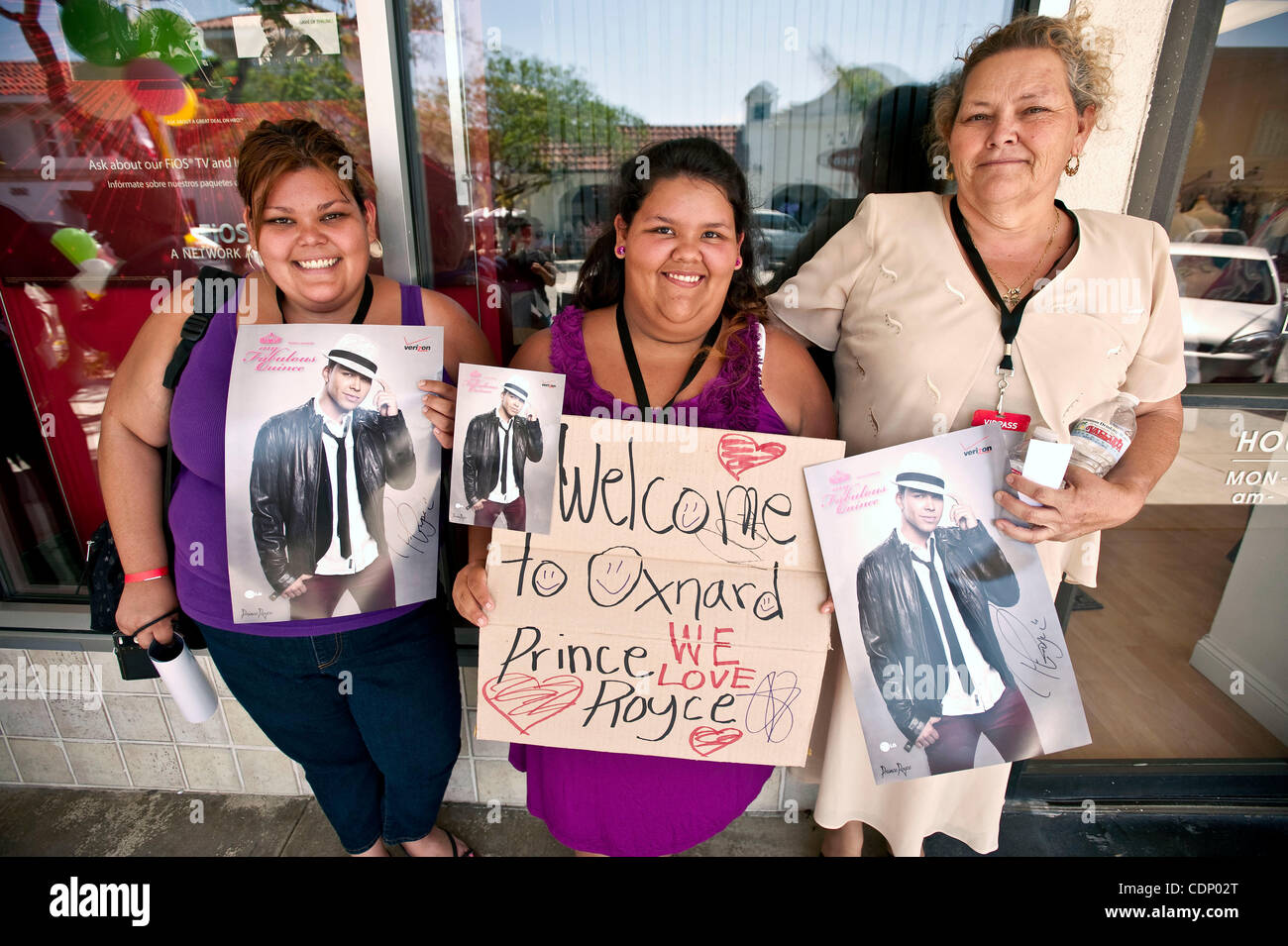 July 09 2011 oxnard california usa fans pose with freshly july 09 2011 oxnard california usa fans pose with freshly autographed posters after a meet and greet with latin recording sensation prince royce at a m4hsunfo Gallery