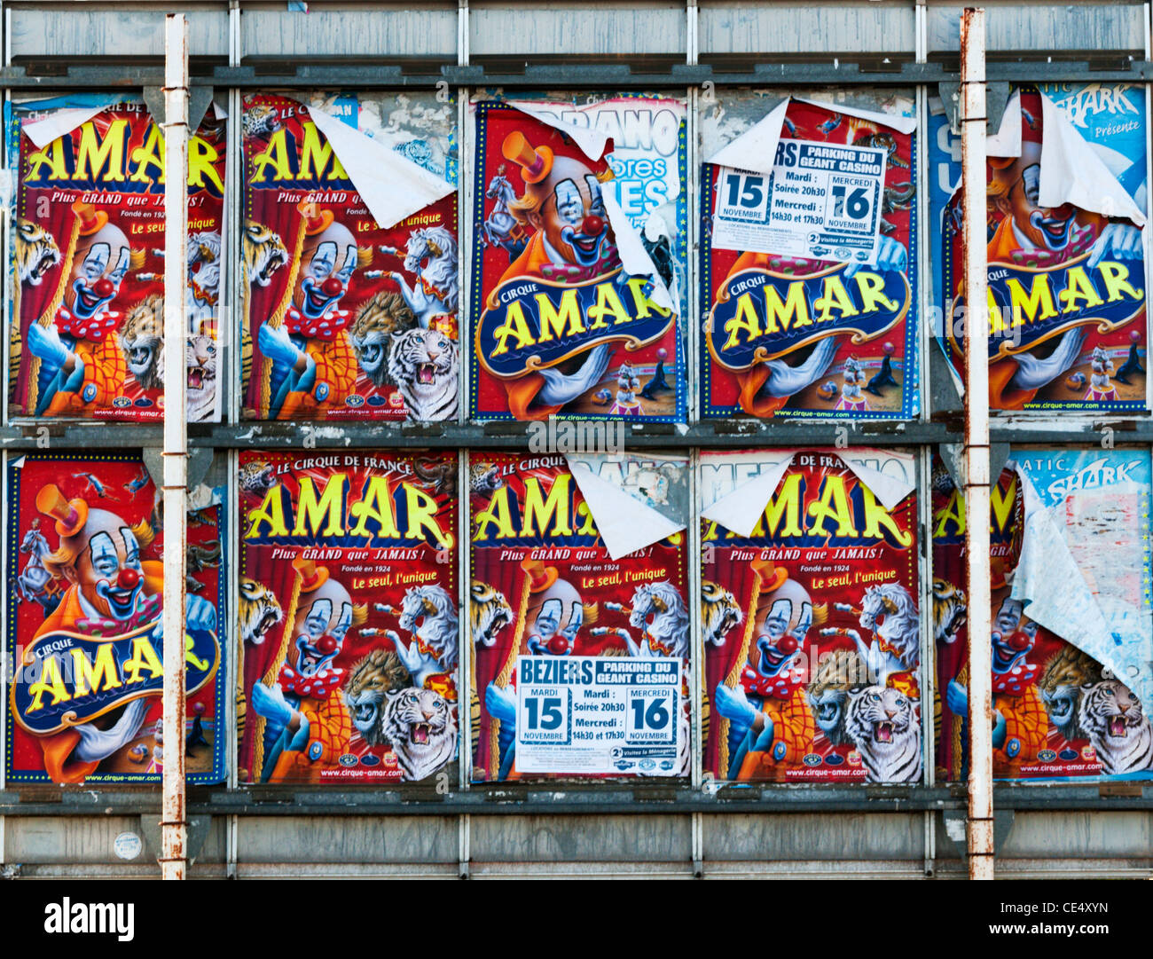 Fly posters advertising a French circus. - Stock Image