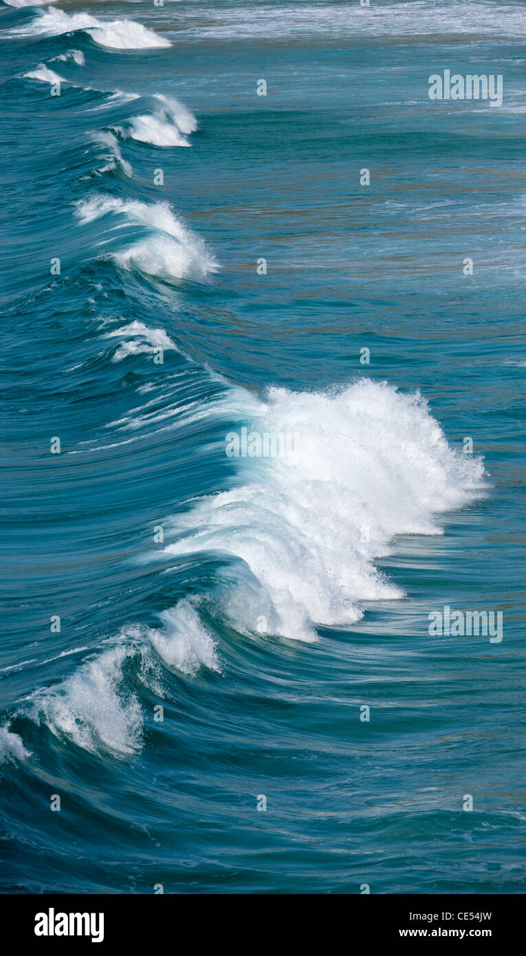 Breaking Atlantic wave off the coast of West Cornwall, England. - Stock Image