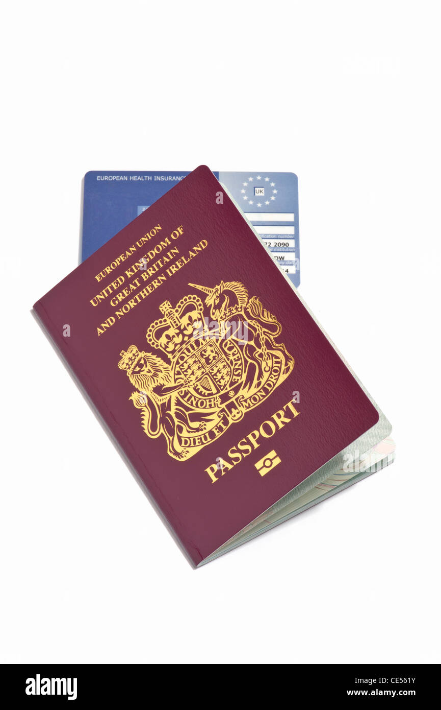 A British passport and a European Health Insurance card Stock Photo
