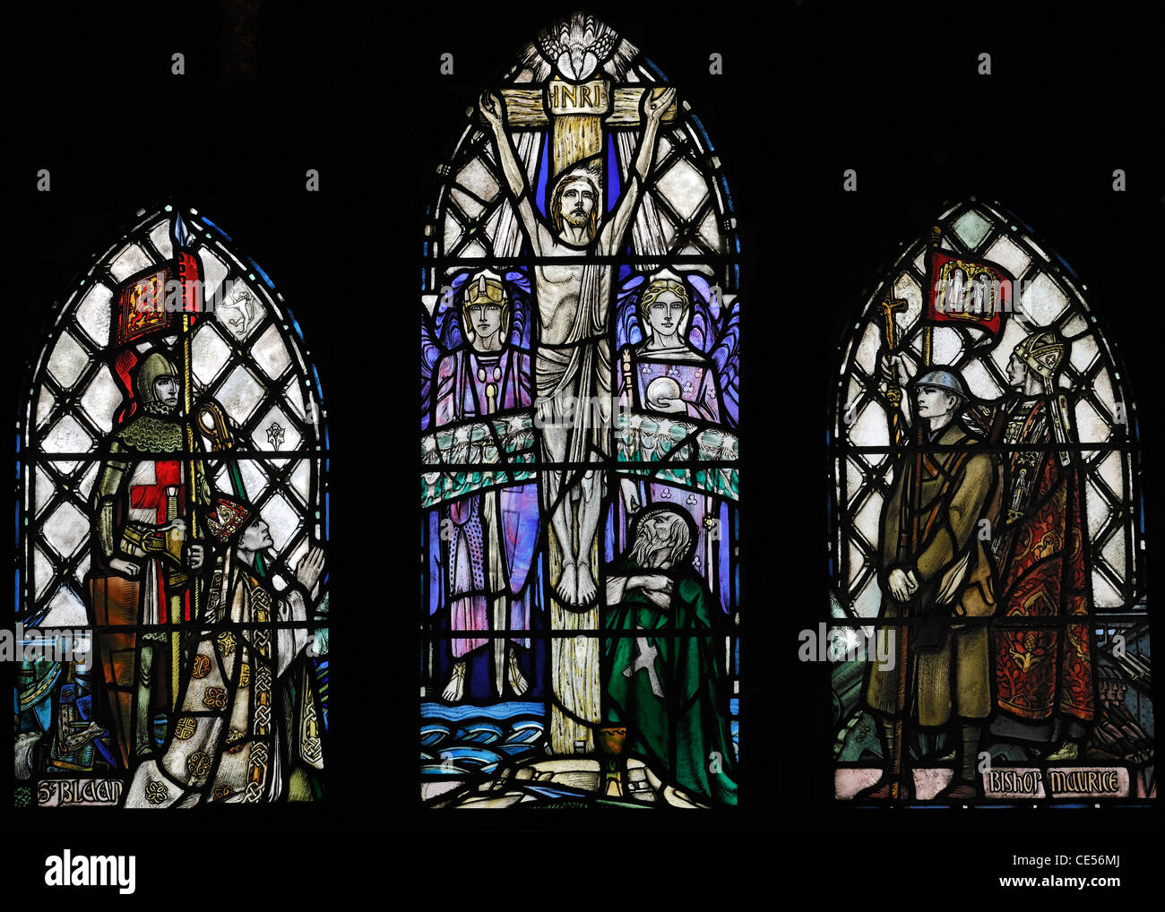 Stained glass (Douglas Strachan) commemorating the sacrifice of soldiers in the First Great War (1914-18), Dunblane - Stock Image