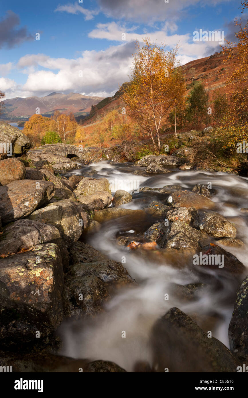 Rocky stream and Ashness Bridge, Lake District, Cumbria, England. Autumn (November) 2011. - Stock Image