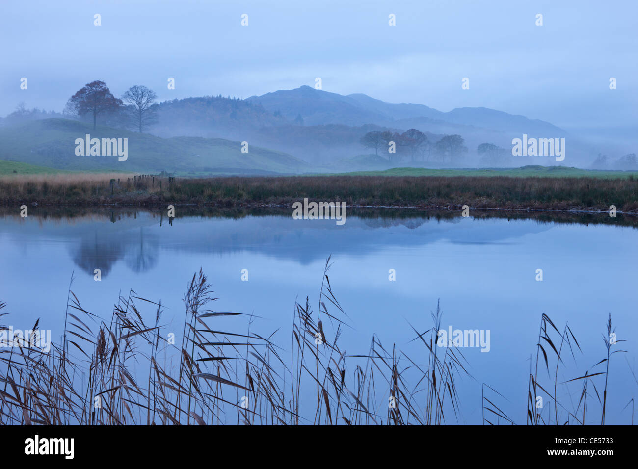 River Brathay on a misty morning near Elterwater, Lake District, Cumbria, England. Autumn (November) 2011. - Stock Image