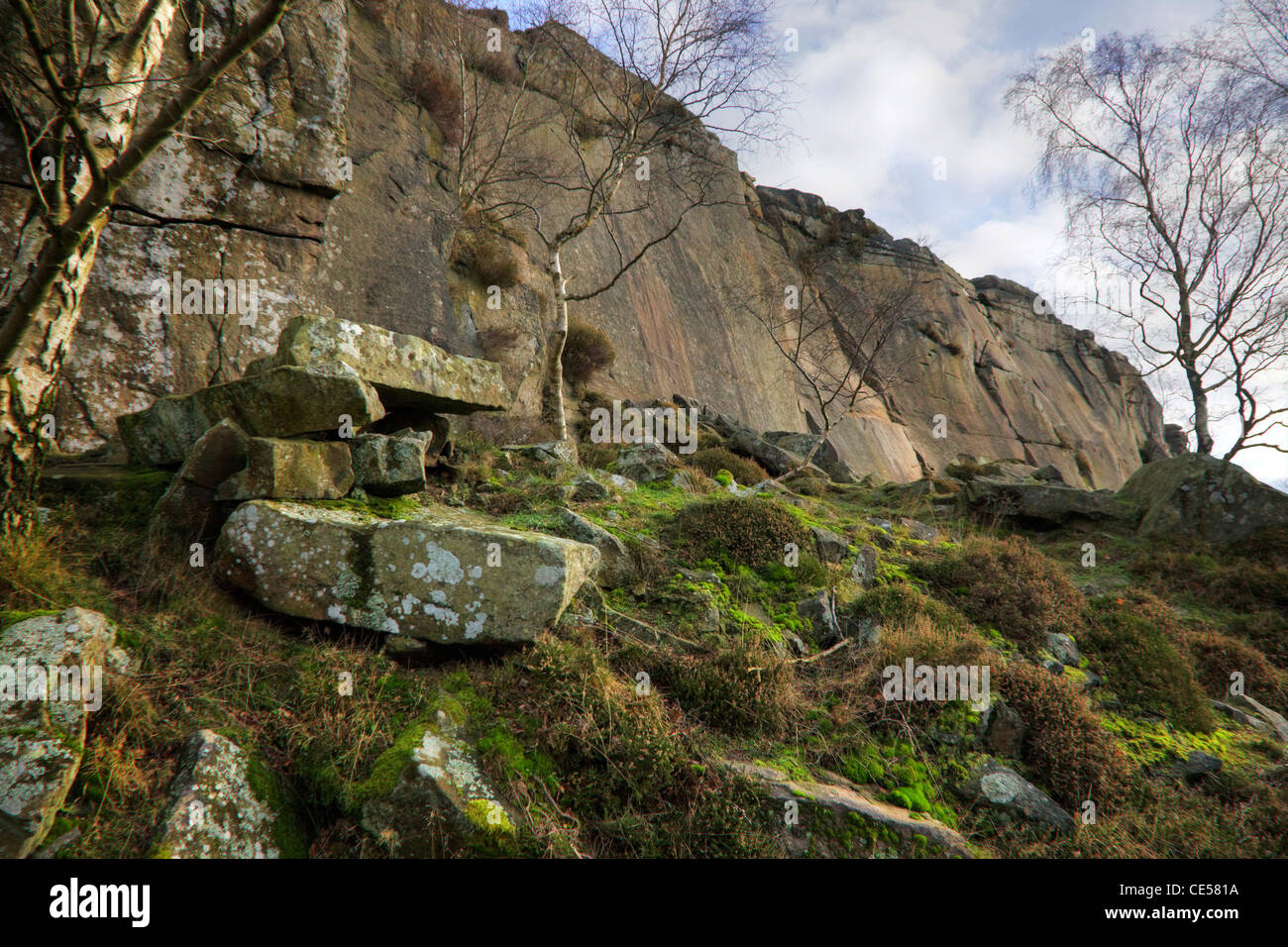 Froggatt Edge is a gritstone escarpment near Hathersage and Baslow in the Derbyshire popular with walkers and climbers - Stock Image