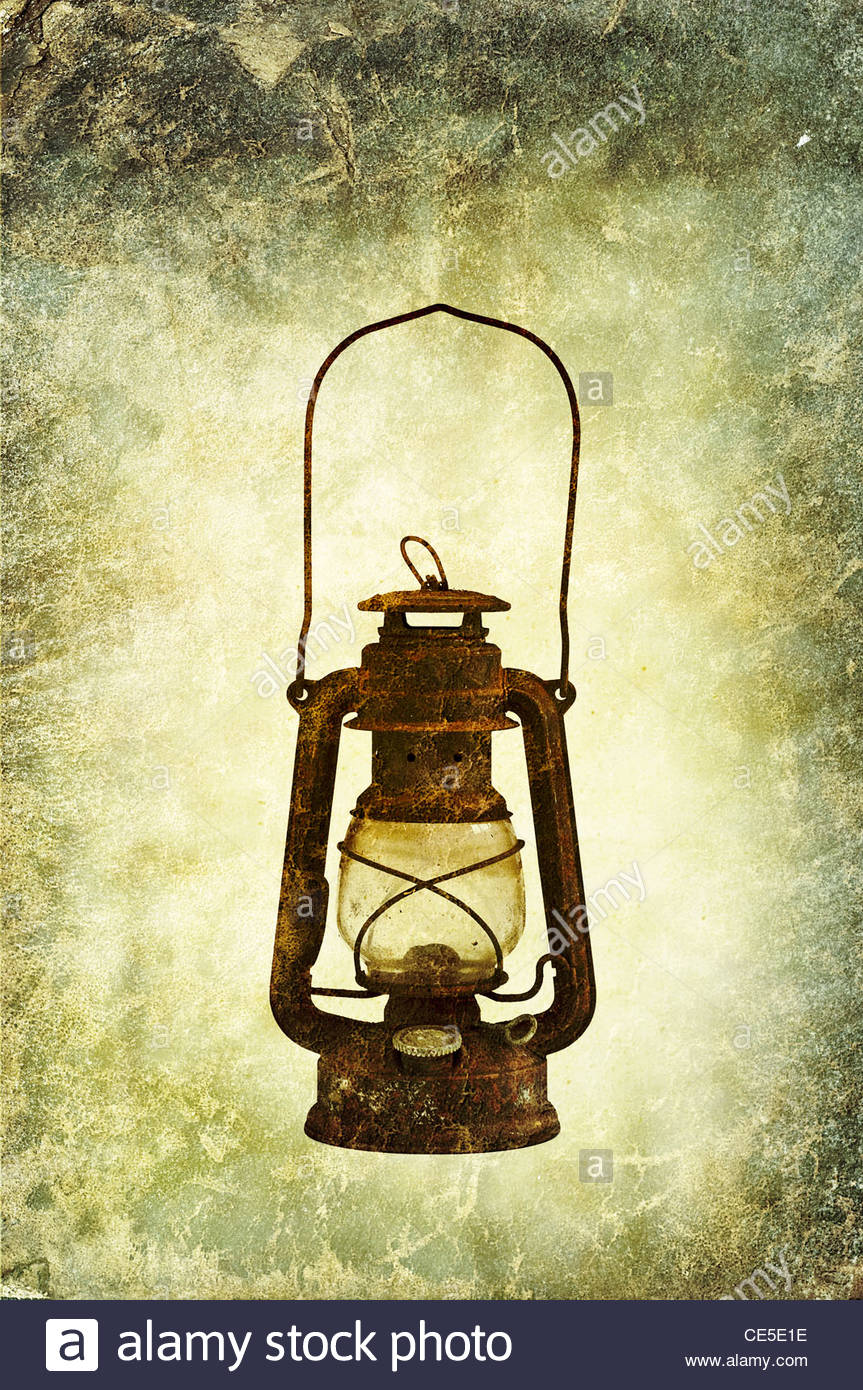 rusty oil lamp - Stock Image
