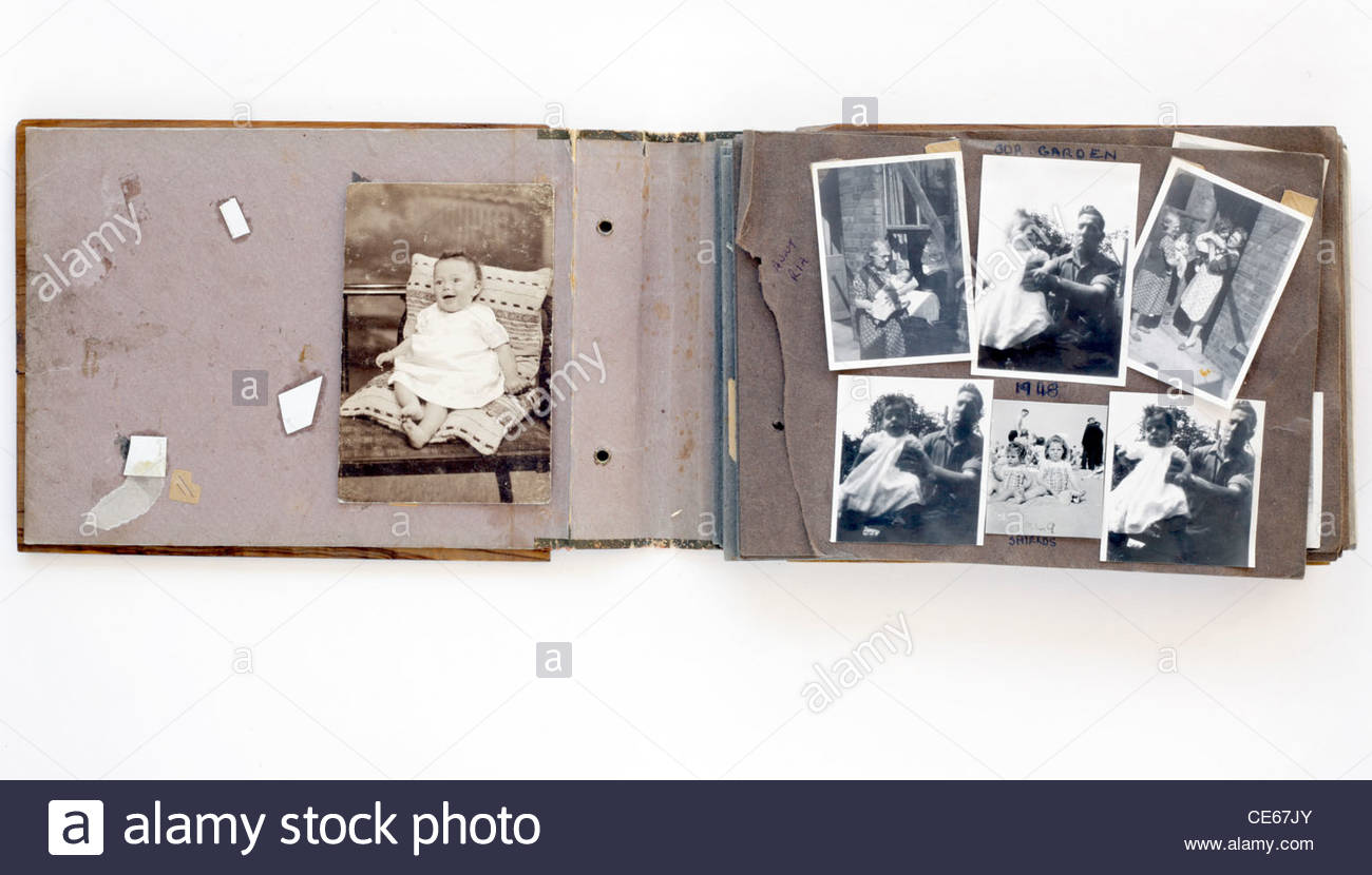Album Photo Vintage old falling apart photo album with vintage happy family moments